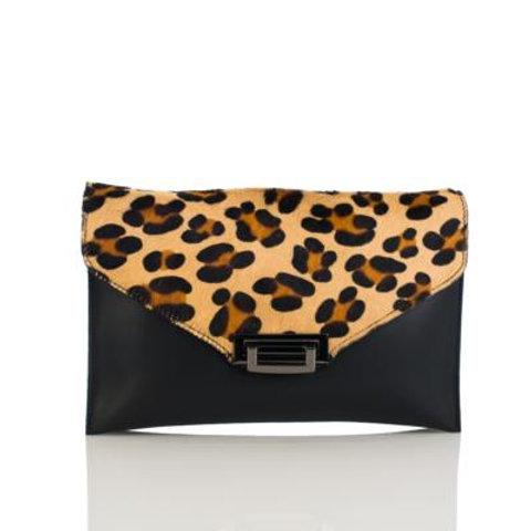 Leopard Print Clutch (Black/Tan)