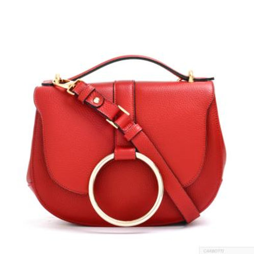 Carbotti Clarissa Brass Ring Hand Bag (Red)