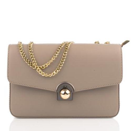 Elegant Shoulder Bag with Chain Strap (Lt Taupe)