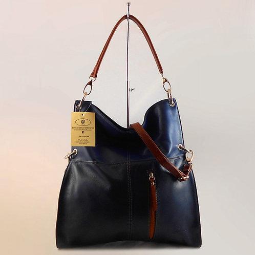 Luxurious Convertible Hobo Bag (Navy Blue)