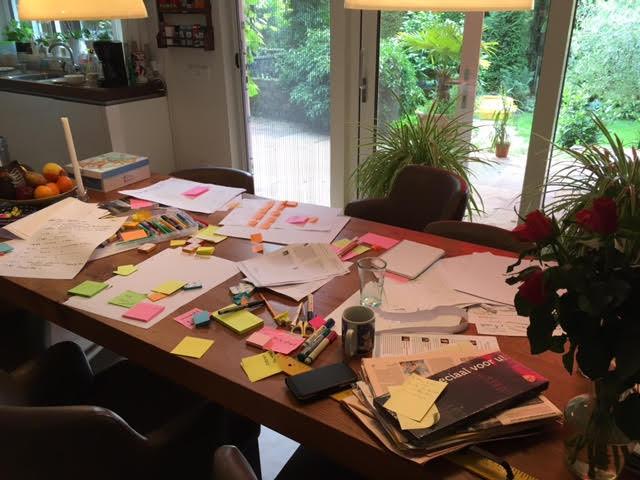 שולחן עמוס פתקים ורעיונות. מכינות את הכנס
