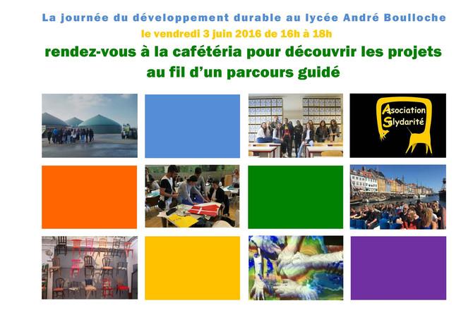 Journée du développement durable au lycée Boulloche. Venez nombreux!