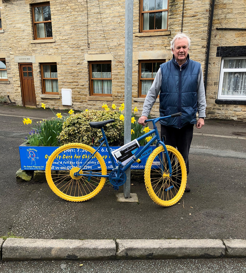 "This is one of our scrap bikes that we donated to a couple of chaps from Silkstone, John Bennett and Bill Barkworth.  They are members of the Silkstone CARE group, an environmental group in the villages of Silkstone & Silkstone Common.  They are one of the groups in Yorkshire to have won the Duke of York's Community Initiative award for 2018.  A poster will declare that, ""The CARE group welcomes the Tour de Yorkshire"".  John's shown here showing off their handy work."