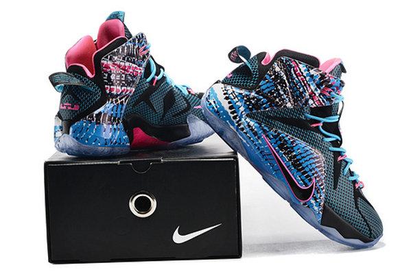 best sneakers dd2f0 0acb4 Lebron James XII Black Pink blue Men 8-14