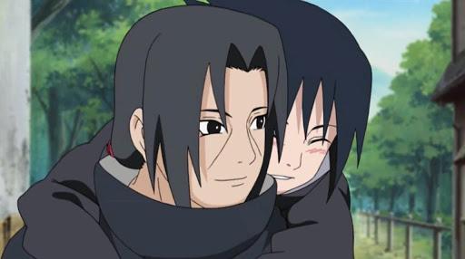 Young Itachi Uchiha carrying Sasuke on his back