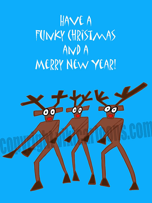 DANCING REINDEERS Christmas Greeting Card