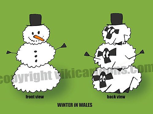 WINTER (SNOWMAN) IN WALES Postcard