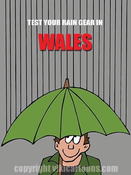 TEST YOUR RAIN GEAR IN WALES Postcard