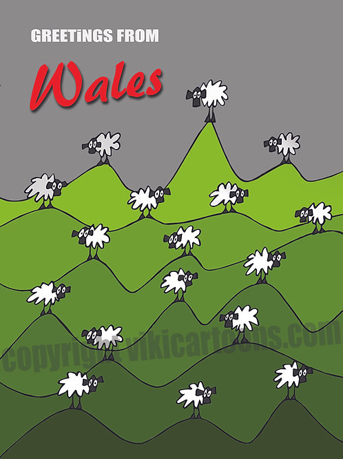 GREETINGS FROM WALES Postcard