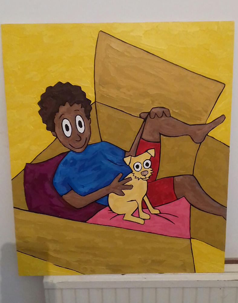 Boy in Box with Dog (unframed)