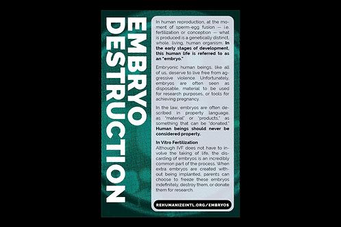 Embryo Destruction Info Cards (Pack of 30)