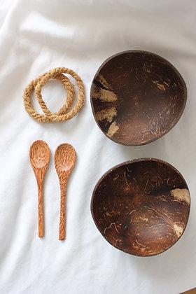 Set bol en noix de coco+ cuillère (2x)