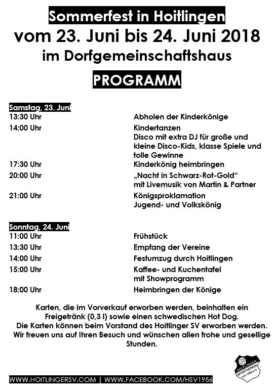 Festprogramm Sommerfest 2018