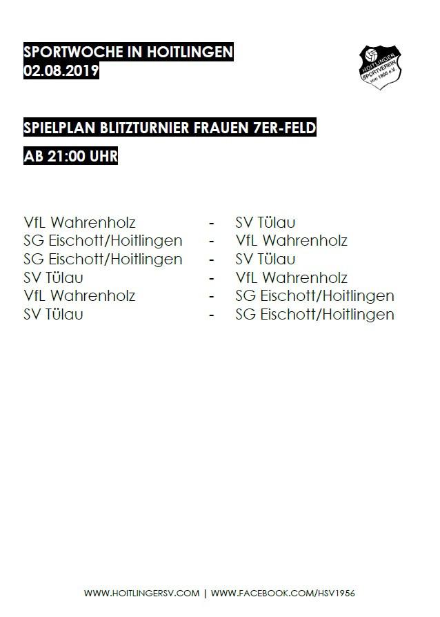 Turnierplan Sportwoche Frauen