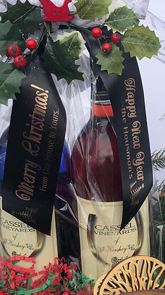 Single Wine Bottle Bow with Custom Message