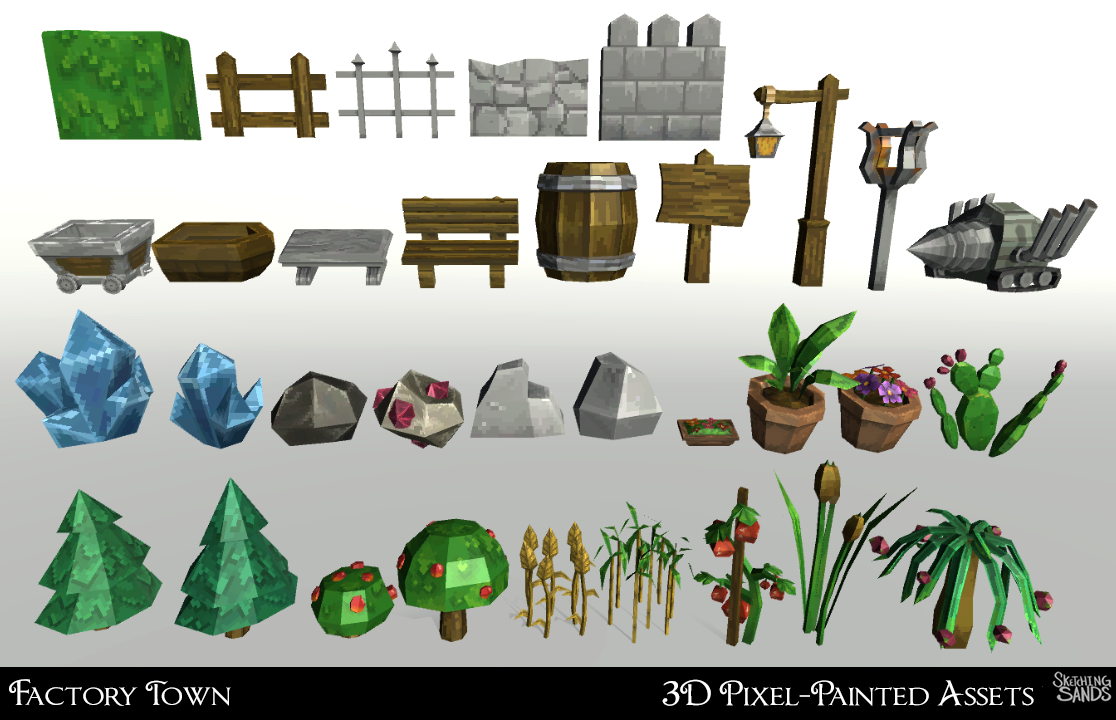 Factory Town 3d Pixel-Painted Assets