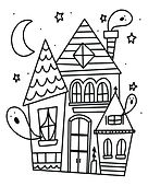 Cute-Haunted-House-Halloween-Coloring-Pa