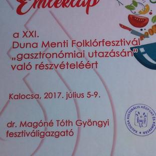 Сертификат за участие в гастрономической ярмарке.