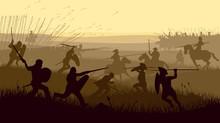 El campo de batalla, la colina y los cuadros de mando