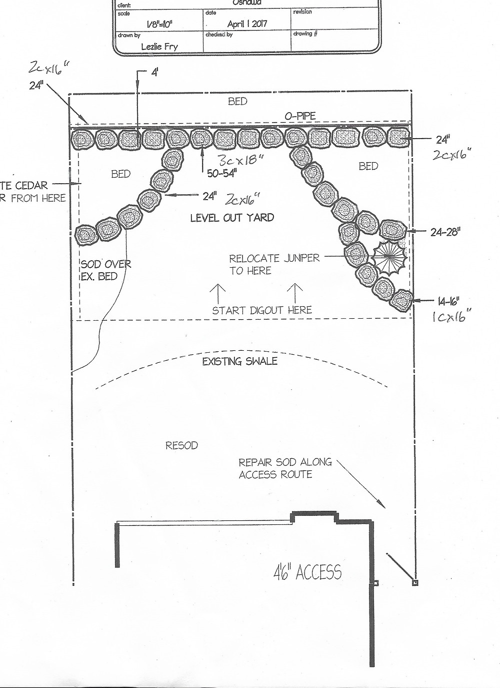 Landscape design presentation of a natural stone retaining wall