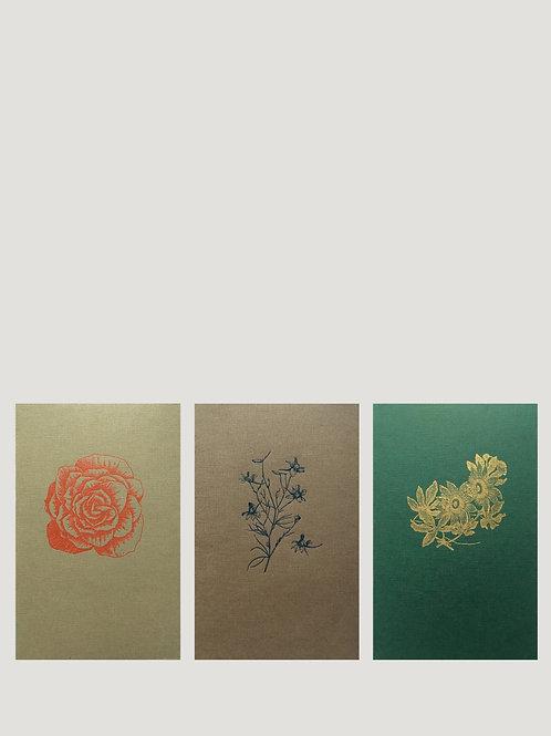 3 carnets souples motif : Les fleurs, Tartan ou Les animaux de la forêt