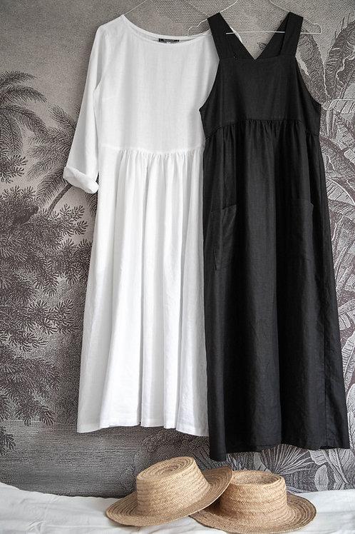 Robe Toscane-Grace en lin noir