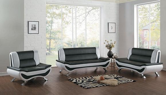 8219 | White/Black Sofa, Love & Chair