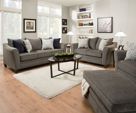 Simmons 6485 Sofa and Loveseat Pewter