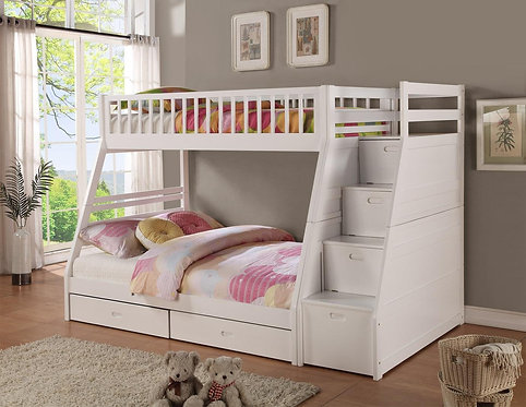 9062WH | Merlin White Twin over Full Staircase Bunkbed with 2 Storage Drawers