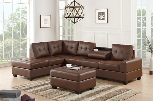Heights Brown Sectional Sofa With Storage Ottoman Sofa With Storage Ottoman