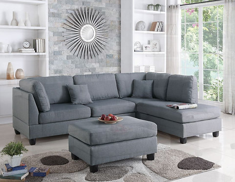 F7606 3PCS Grey Color Sectional