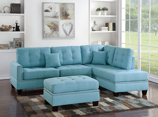 F6505 3PCS Blue Sectional