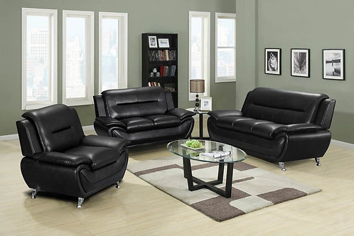 Black Modern Contemporary Bonded Leather Sofa, Love Seat, & Chair