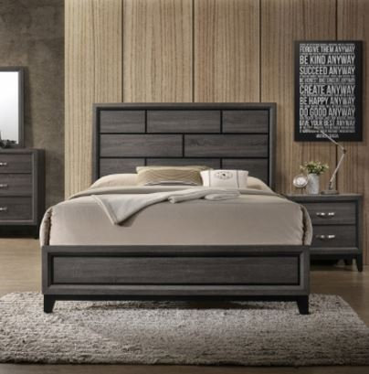 B4620  Akerson Grey Queen Size Bedframe