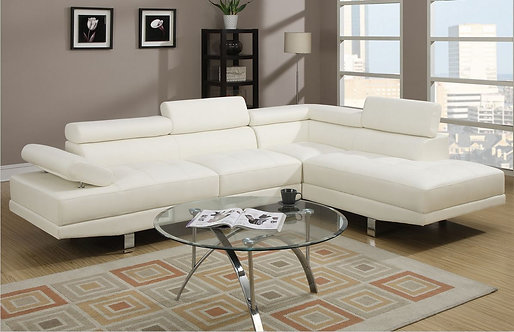 F7320 2PC White Leather Sectional Sofa