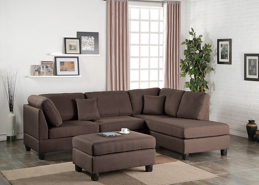 F7608 3PCS Chocolate Color Sectional