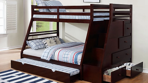 B61 Twin/Full Trundle with Staircase + Drawers