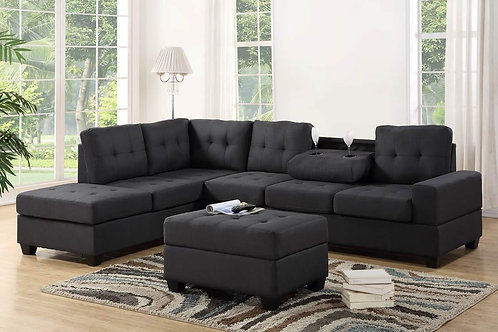 Heights Charcoal Sectional Sofa With Storage Ottoman
