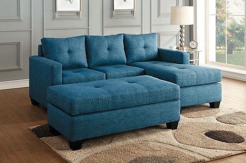 9789BU | Blue Reversible Sectional & Ottoman