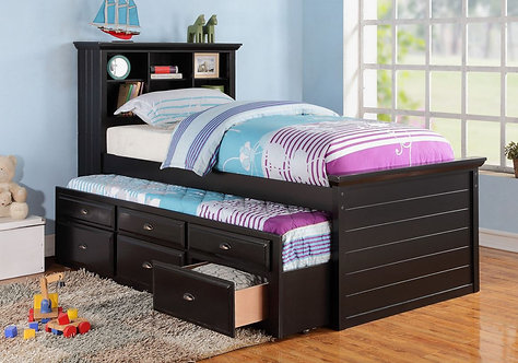 F9219   TWIN BED W/TRUNDLE BLACK