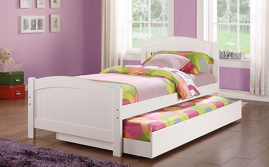 TWIN BED W/TRUNDLE WHITE