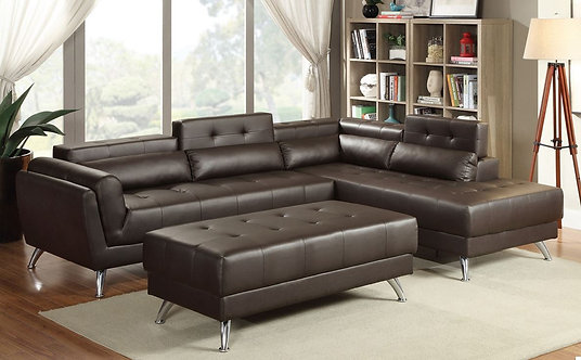 F6976 2PC Espresso Leather Sectional