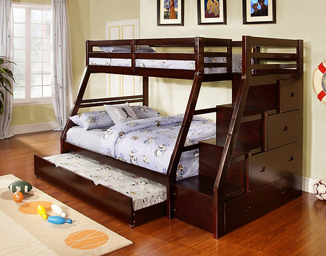 CMBK611 Twin/Full Bunk Bed With Staircase