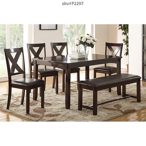 F2297 6PC DINING SET WITH BENCH