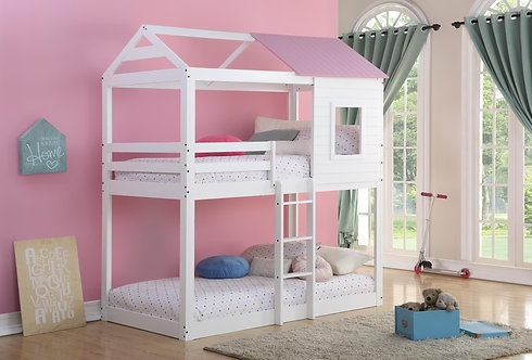 9066WH | Caleb White Twin Over Twin Bunkbed