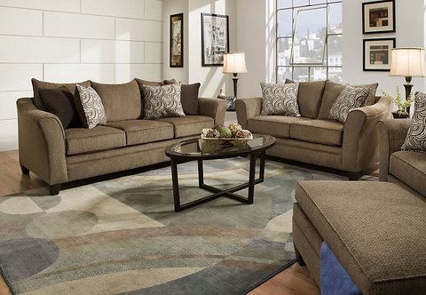Simmons 6485 Sofa and Loveseat Truffle
