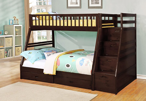9062ES | Merlin Espresso Twin over Full Staircase Bunkbed with 2Storag