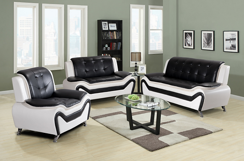 8163 Black and White Bonded Leather Sofa, Love Seat, and Chair