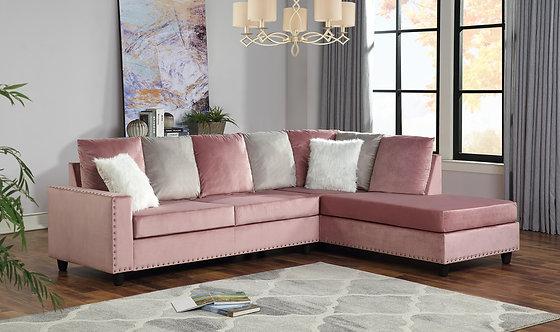 Cindy Velvet Pink Reversible Sectional