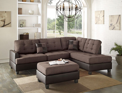 F6857 3PCS Chocolate Sectional